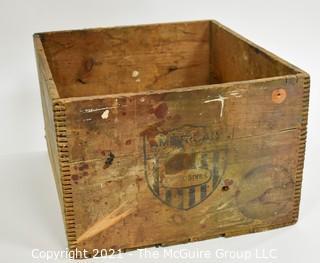"Wooden finger jointed box dynamite box stenciled ""American Cyanamic Company; 30 Rockefeller Plaza, NY, NY; 11 x 16 x 18"""