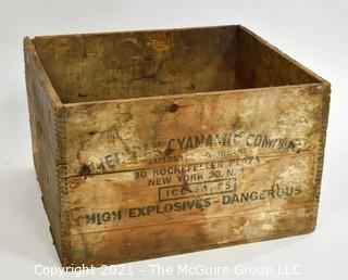 "Wooden finger jointed box dynamite box stenciled ""American Cyanamic Company; 30 Rockefeller Plaza, NY, NY; 11 x 16 x 18"""