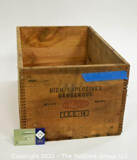 """Wooden Finger Jointed Dynamite Box Stenciled """"DuPont Explosives""""; 9 x 12 x 18"""""""