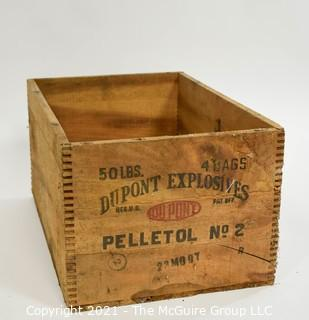 "Wooden Finger Jointed Dynamite Box Stenciled ""DuPont Explosives""; 9 x 12 x 18"""