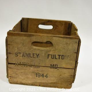"""Wooden box with cutout handles; stenciled """"Stanley Fulton. Hancock, MD 1944; 11 x 15 x 18"""""""
