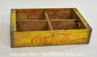 Yellow and Red Coca-Cola Wooden Bottle Crate; 12 x 18 x 4""