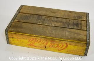 """Yellow and Red Coca-Cola Wooden Bottle Crate; 12 x 18 x 4"""""""