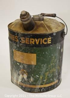 "Vintage 5 Gallon ""Cities Service"" Fuel Can with Spout & Handle."