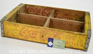 Yellow and Red Coca-Cola Coke Wooden Bottle Crate