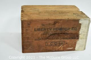 "Wooden Finger Jointed Box High Explosives Box Stenciled ""Liberty Powder Co."", Pittsburg, PA; 10 x 13 x 18"""