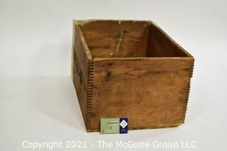 """Wooden Finger Jointed Box High Explosives Box Stenciled """"Liberty Powder Co."""", Pittsburg, PA; 10 x 13 x 18"""""""