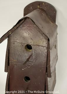 """Vintage Primitive Hand Crafted Bird House with Tin Roof; 9""""D x 7W x 20""""T"""