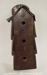 "Vintage Primitive Hand Crafted Bird House with Tin Roof; 9""D x 7W x 20""T"