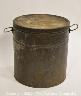 """Large Vintage Tin Box with Cover and handles; 12"""" diameter x 13""""T"""