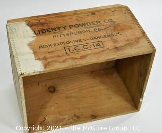 "Wooden Finger Jointed Box High Explosives Box Stenciled ""Liberty Powder Co."", Pittsburg, PA; 11 x 13 x 18"""