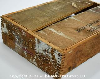 """Wooden Finger Jointed Box Dynamite Box Stenciled """"High Explosives- Dangerous""""; 12 X 18 X 4""""T."""