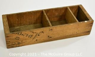 Vintage Wooden Box with compartments; 6 x 18 x 4""