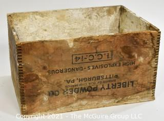 """Wooden finger jointed box high explosives box stenciled """"Liberty Powder Co."""", Pittsburg, PA; 13 x 10 x 18"""""""