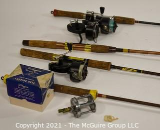 Collection of (4) Fishing Poles with Reels, some Garcia Mitchell.