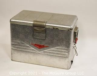 "Vintage Mid Century Ribben Aluminum Thermaster Cooler Ice Chest by Poloron; 13D x 22W x 16""T"