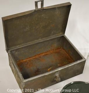 Collection of Vintage Kitchen Ware Items Including Maryland Graham Cracker Tins, Porcelain Bowl, Baking Sheets and a Tool Box.
