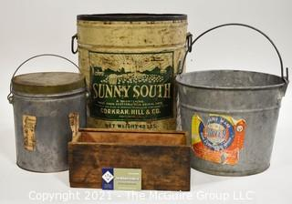 Group of Vintage Pails and a Wood Box.