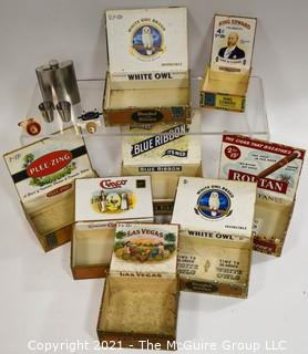 Collection Of Vintage Cigar Boxes And Stainless Steel Flask with Two (2) Cups.
