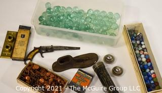 Eclectic Assortment Including Marbles, Shoemakers Last, Eveready Flashlight, Metal Saw, Large Ball Bearings, Button Electrical Switch Plate For Wall & Box Of Copper Tacks.
