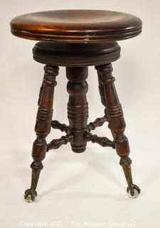 Mahogany Piano Stool with Brass Claw and Glass Feet; made by A. Merriam and Co., MASS