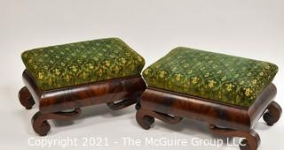Two (2) Matching Vintage Fruitwood Footstools with Green Tapestry Upholstered Top.  Measure approximately  10 x 11 x 18""