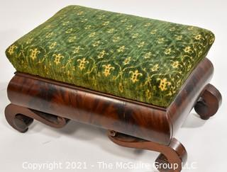 """Two (2) Matching Vintage Fruitwood Footstools with Green Tapestry Upholstered Top.  Measure approximately  10 x 11 x 18"""""""