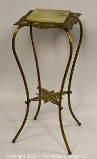 "Marble Topped Brass Plant Stand with Lower Shelf; 30""T"