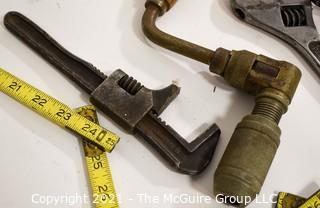 Collection of Hand Tools Including Zig Zag Carpenter Rules, Hand Brace, Adjusting Wrenches And Stanley No.78 Plane