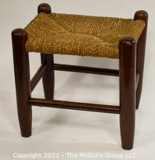 Wooden Stool with Rush Caned Seat
