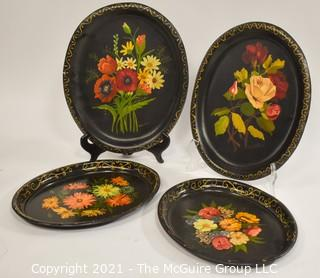"""Assorted 4 handpainted toleware tin trays ~ 12 x 14"""""""