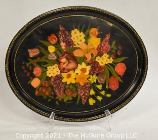 """Oblong Toleware Hand painted Tray, Signed by Artist, Measures approximately 17 1/2 x 22"""""""