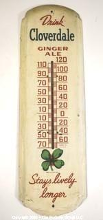 """Vintage Mid-Century Cloverdale Ginger Ale Soda Metal Advertising Thermometer. Working condition and measures approximately 9 x 27"""""""