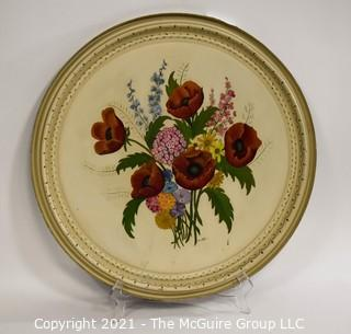 """Large Hand painted Toleware Tray; 22"""" diameter"""