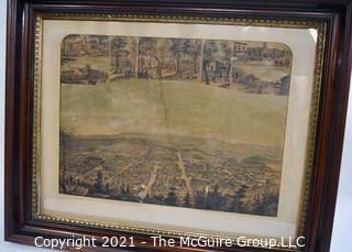 "Berkeley Springs, West Virginia Lithograph Collage.  Includes B&O Railroad Depot, Framed Under Glass.  Measures approximately 24 x 31 x 4""D"