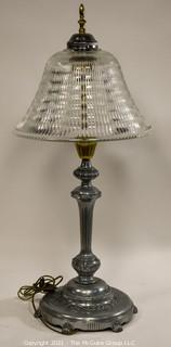 "Large 36"" Tall Table Lamp - Silver And Brass With Glass Shade; Made Bythe Beacon Lamp Co. of NY"