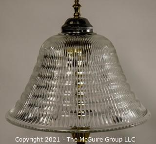 """Large 36"""" Tall Table Lamp - Silver And Brass With Glass Shade; Made Bythe Beacon Lamp Co. of NY"""