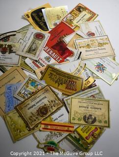 Group of Vintage Wine, Whiskey and Alcohol Bottle Labels.