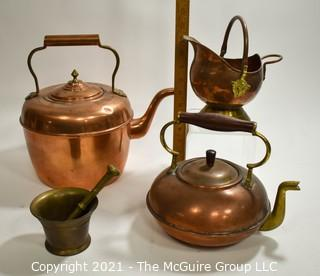 Collection of Copper Pots and Heavy Bronze Mortar and Pestle.