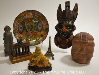 Group of Souvenir Items from China, Germany Etc.  Includes Iron Maiden and Cigar Label Glass Bowl