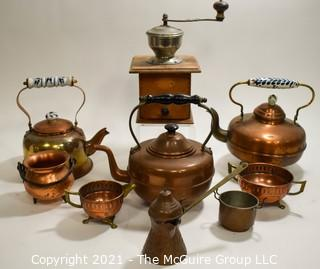 Group of Copper Items including Tea Pots.  Some made in Holland & England
