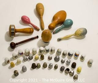 Group of Wood Sock Darners and Thimble Collection.