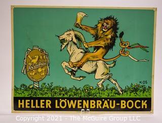 Vintage Metal Heller Lowenbrau -Bock Beer Bar Sign, Made in Germany.