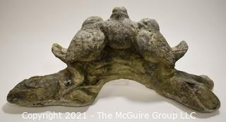 "Cement Garden Statue of Three Birds on a Log; 14 x 11 x * 1/2"" Tall."