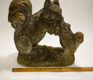 "Cement Garden Statue of Squirrel; 15"" wide x 14""Tall."