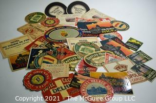 Group of Vintage International Travel & Hotel Stickers.  Unused.