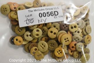 Collection of Antique Buttons Hand Carved from Bone, Most Two Hole.