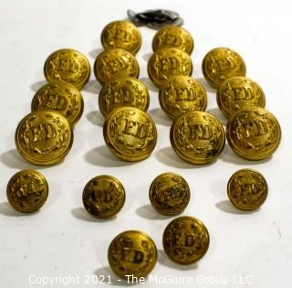Set of (20) Vintage Brass FD Fire Deparment Buttons in Two Sizes with Shank.