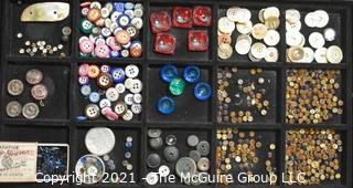Collection of Vintage Buttons Includes Some Rhinestones.
