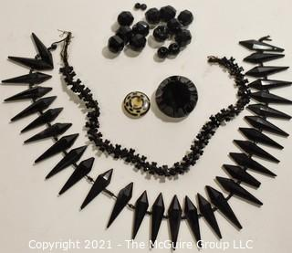 Collection of Antique Hand Carved Black Jet or Glass Buttons and Embellishments.